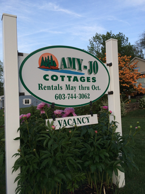 Amy-Jo Cottages Sign